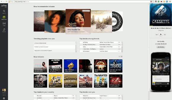 Screenshot von Spotify im Browser