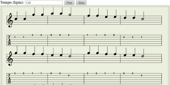 Screenshot HTML5 Guitar Tab Player