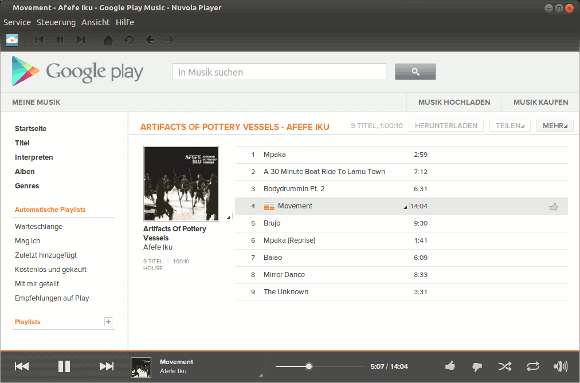 Screenshot Nuvola Player mit Google Play Music